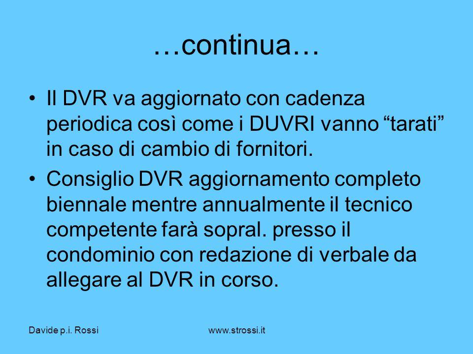 """Davide p.i. Rossiwww.strossi.it …continua… Il DVR va aggiornato con cadenza periodica così come i DUVRI vanno """"tarati"""" in caso di cambio di fornitori."""