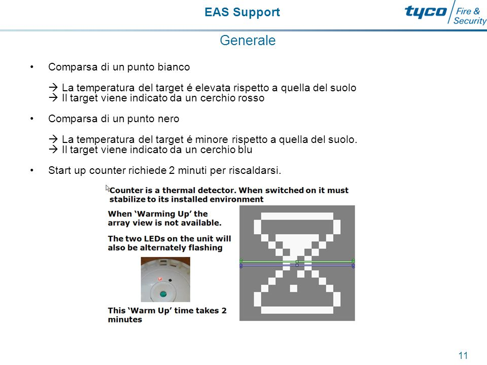 EAS Support 12 Generale Il contatore a soffitto non riconosce vento ne area, rivela solamente infrarossi da oggetti materiali.