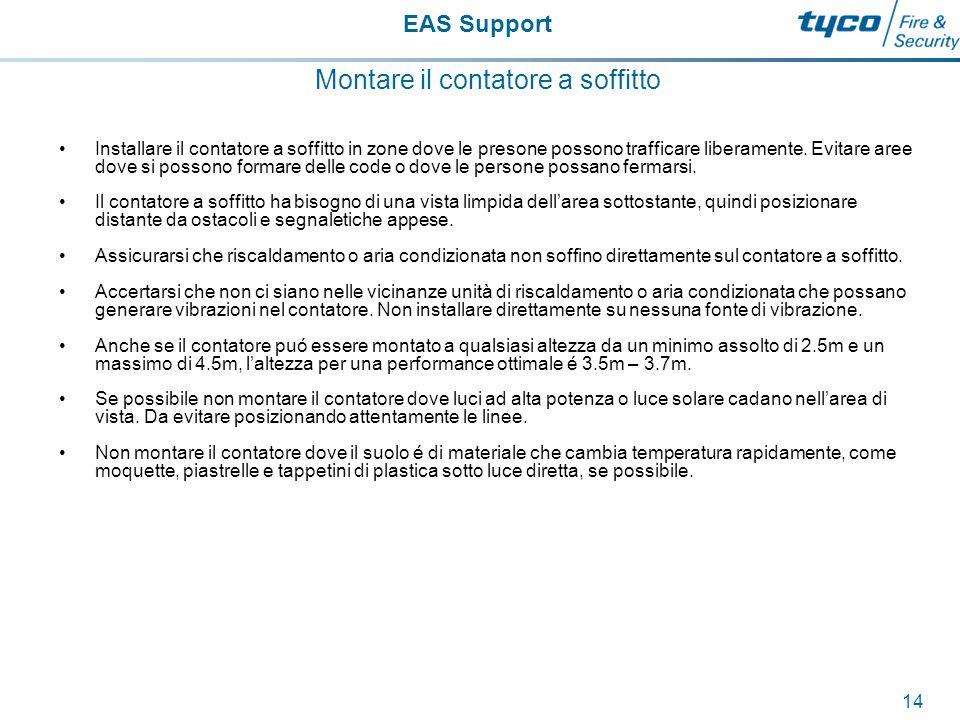 EAS Support 15 Montare il contatore a soffitto Installare il contatore a soffito orizontale al soffitto, se non é possibile si consiglia l'utilizzo di un supporto.
