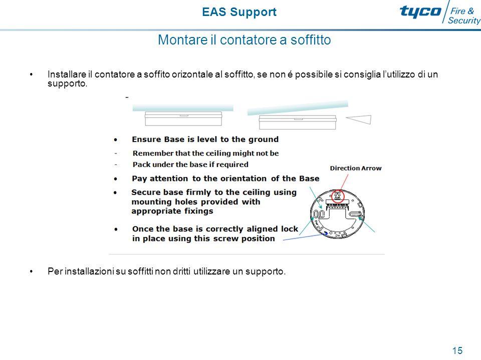 EAS Support 16 Montare il contatore a soffitto Il contatore dovrebbe essere installato con la freccia direzionale del supporto che guardi la direzione in cui il traffico sarà contato OUT.