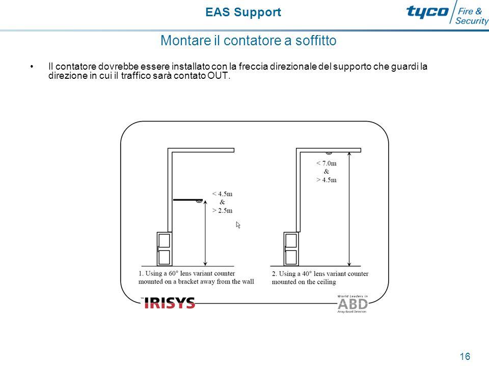 EAS Support 17 Montare il contatore a soffitto Sebbene sia accettabile installare il contatore direttamente sotto un porta, con l'opzionale braccio di supporto, per una performance ottimale il contatore dovrebbe essere installato lontano dalla porta approssimatamente ad una distanza pari alla metà o ad 1/3 della sua area di copertura.