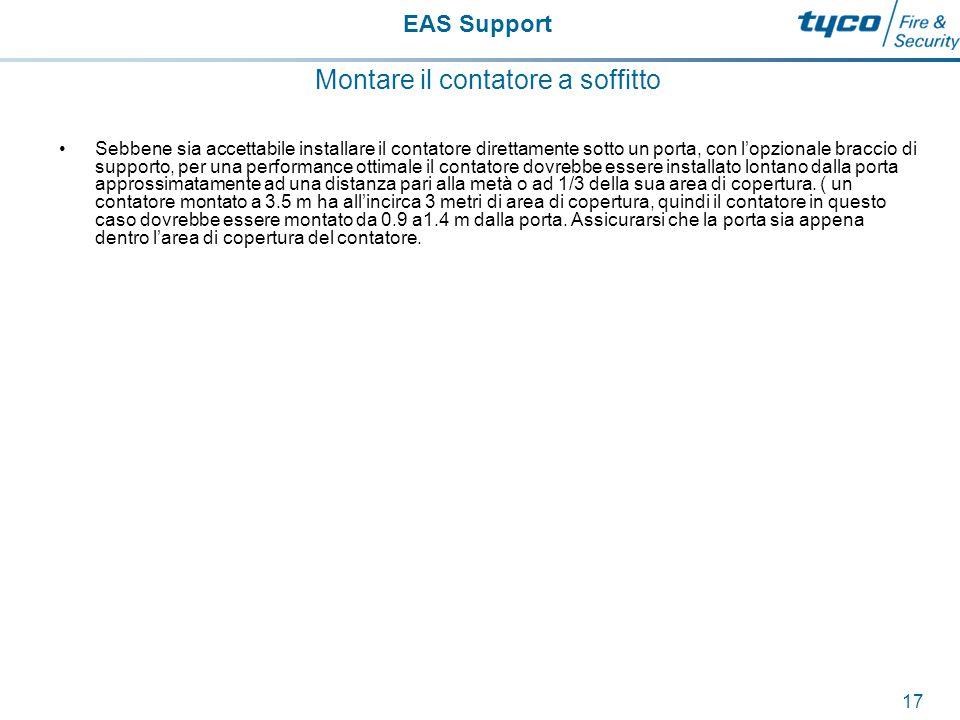 EAS Support 18 Montare il contatore a soffitto Per una corretta relazione tra l'altezza a l'area di `rilevamento attenersi direttamente al grafico sottostante:
