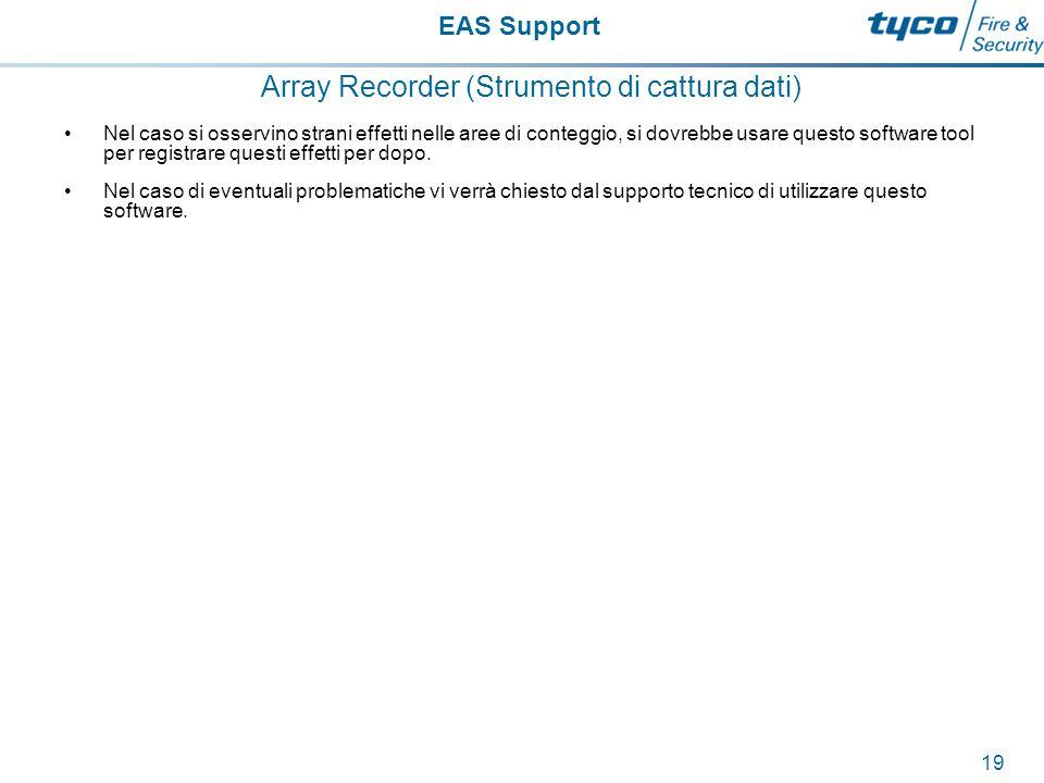 EAS Support 20 Configurare il contatore Le linee di conteggio sullo schermo di configurazione dovrebbero essere sempre posizionate in modo da ottenere la migliore performance per quella postazione; ci sono poche possibilità che le impostazioni predefinite diano una performance ottimale.