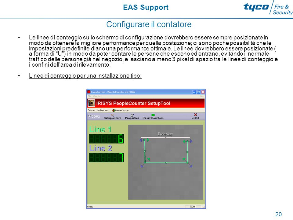 EAS Support 21 Configurare il contatore Le linee di conteggio possono, e normalemente dovrebbero sovrapporsi l'un l'altra.