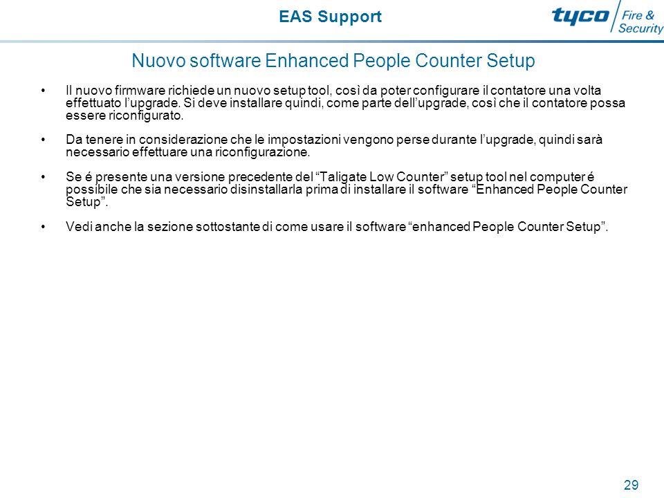 EAS Support 30 Come controllare l'attuale versione del firmware Per controllare l`attuale versione in uso del firmware, sarà necessario caricare il setup software e interrogare il dispositivo.