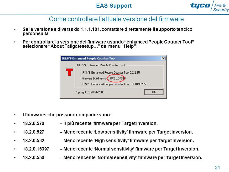 EAS Support 32 Effettuare cambiamenti nel contatore.