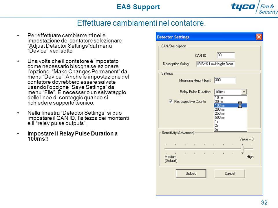 EAS Support 33 Effettuare cambiamenti nel contatore.