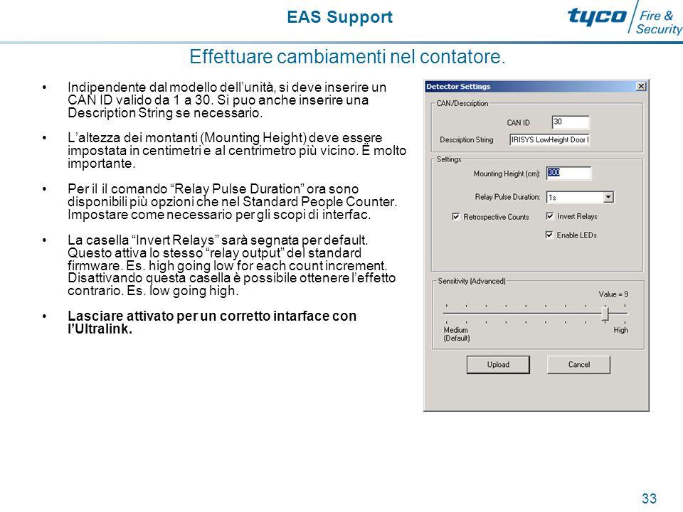 EAS Support 34 Effettuare cambiamenti nel contatore.