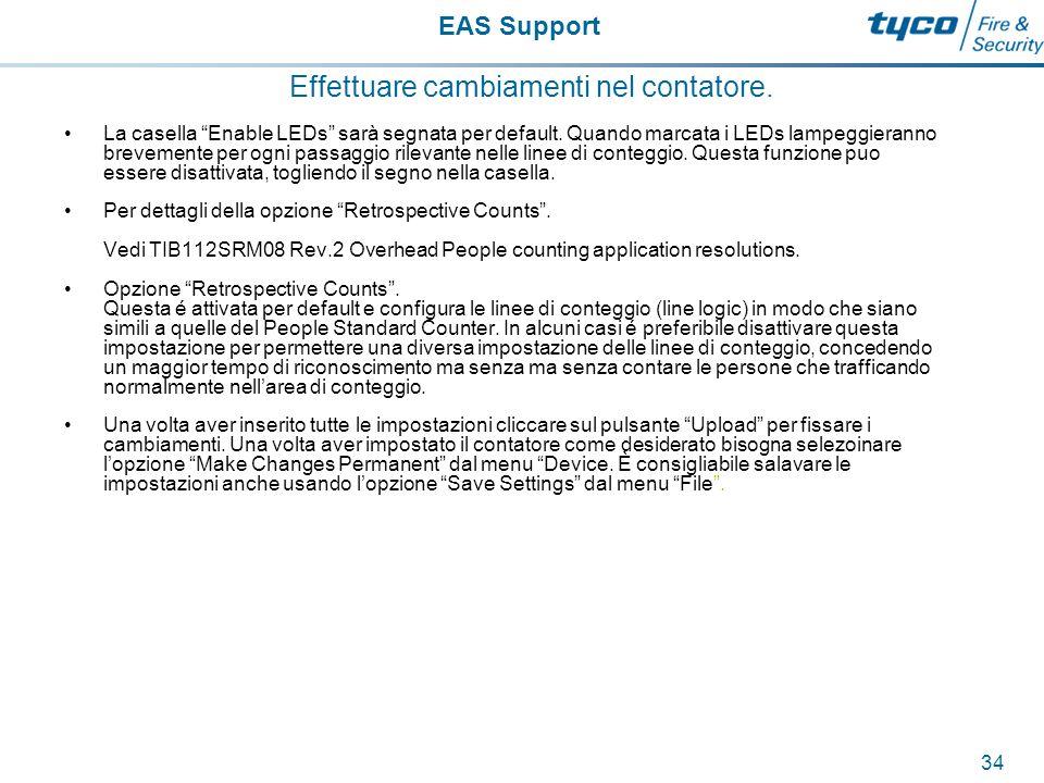 EAS Support 35 Effettuare cambiamenti nel contatore.
