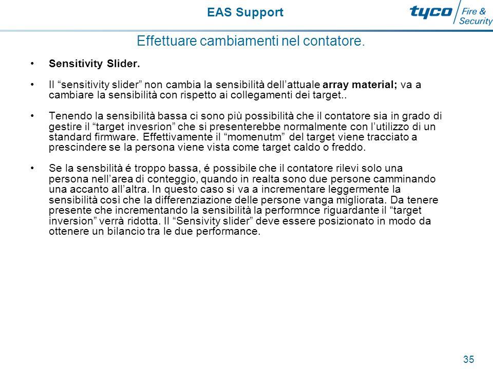 EAS Support 36 Effettuare cambiamenti nel contatore.