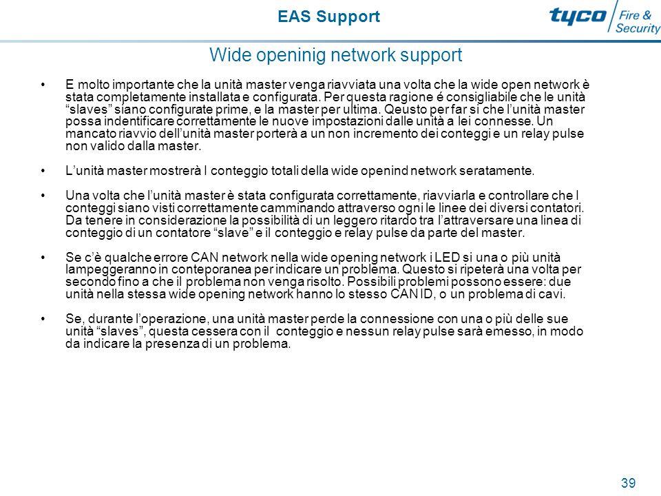EAS Support 40 Wide openinig network support Lo schermo sovrastante mostra il conteggio totale per le unità master e slaves.