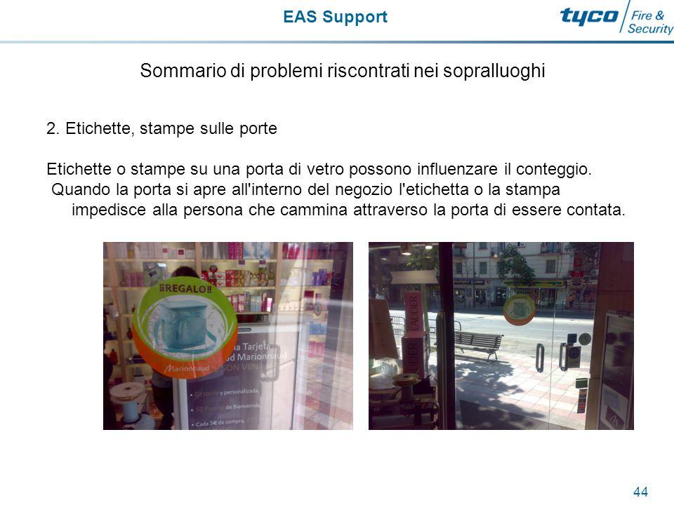 EAS Support 45 Sommario di problemi riscontrati nei sopralluoghi 3.