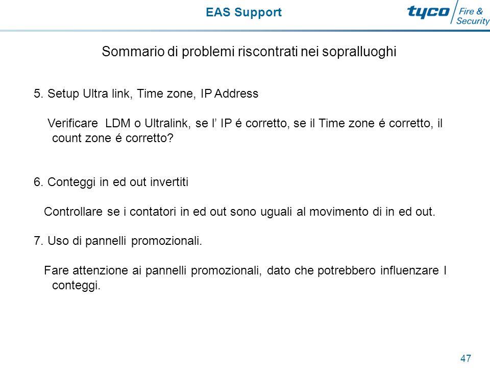 EAS Support 48 Sommario di problemi riscontrati nei sopralluoghi 8.