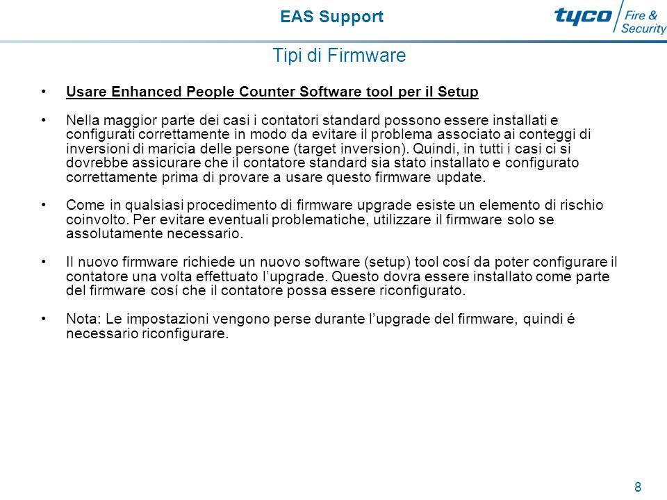 EAS Support 9 Tipi di Firmware Se possedete una versione precedente del 'Tailgate Low Counter' setup tool nel computer, questa dovra essere disinstallata prima di procedere all'installazione l'ultimo 'Enhanced People Counter Setup' software.
