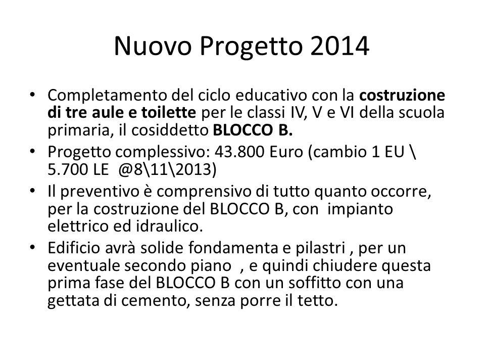 Nuovo Progetto 2014 Completamento del ciclo educativo con la costruzione di tre aule e toilette per le classi IV, V e VI della scuola primaria, il cos