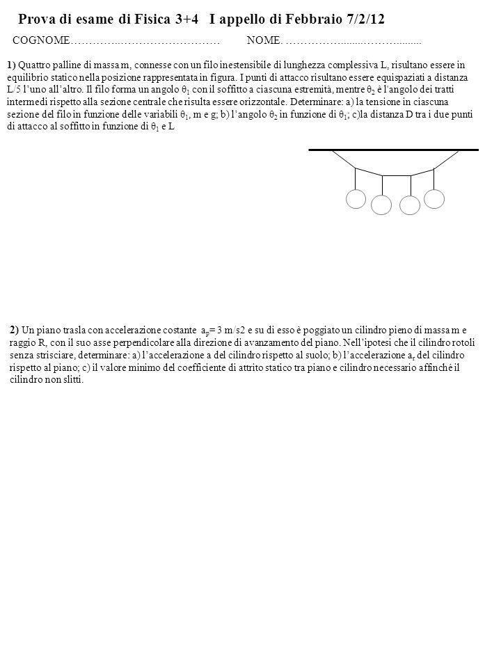 Prova di esame di Fisica 3+4 I appello di Febbraio 7/2/12 COGNOME…………..……………………… NOME.