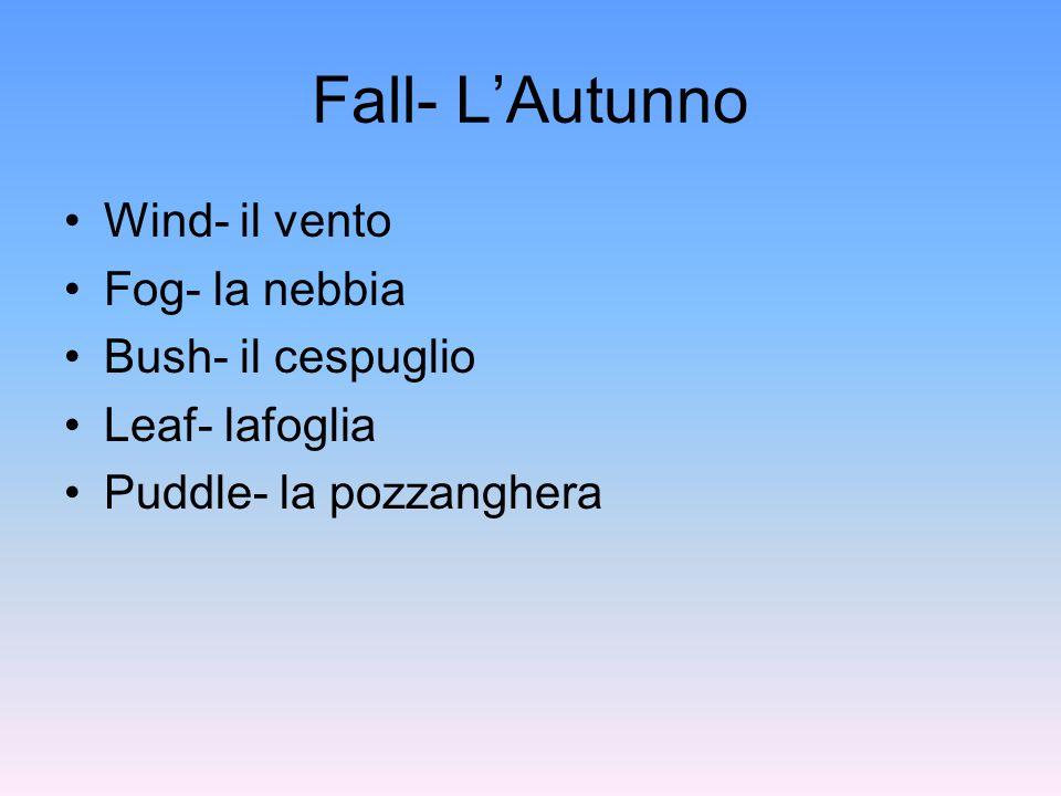 Fall- L'Autunno Wind- il vento Fog- la nebbia Bush- il cespuglio Leaf- lafoglia Puddle- la pozzanghera