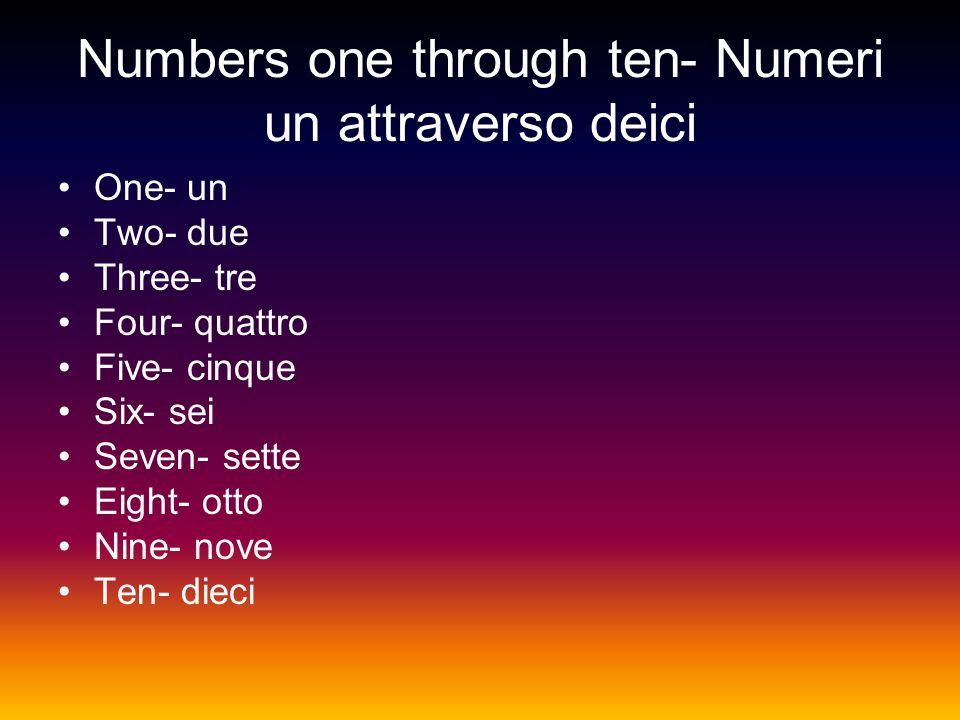 Numbers one through ten- Numeri un attraverso deici One- un Two- due Three- tre Four- quattro Five- cinque Six- sei Seven- sette Eight- otto Nine- nove Ten- dieci