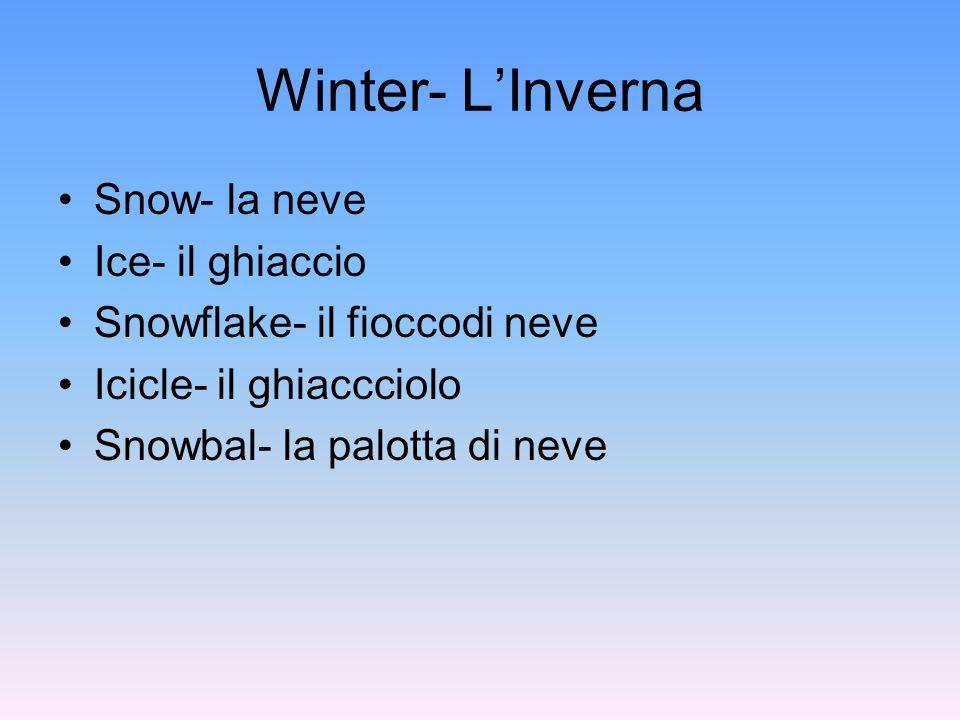Winter- L'Inverna Snow- la neve Ice- il ghiaccio Snowflake- il fioccodi neve Icicle- il ghiaccciolo Snowbal- la palotta di neve