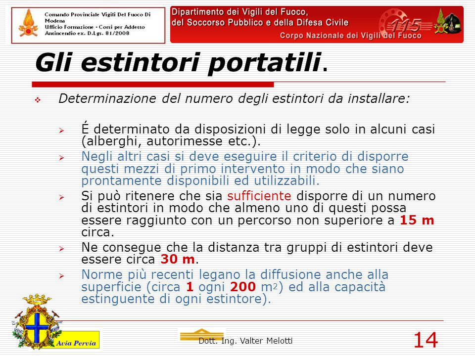 Dott. Ing. Valter Melotti 14 Gli estintori portatili.  Determinazione del numero degli estintori da installare:  É determinato da disposizioni di le