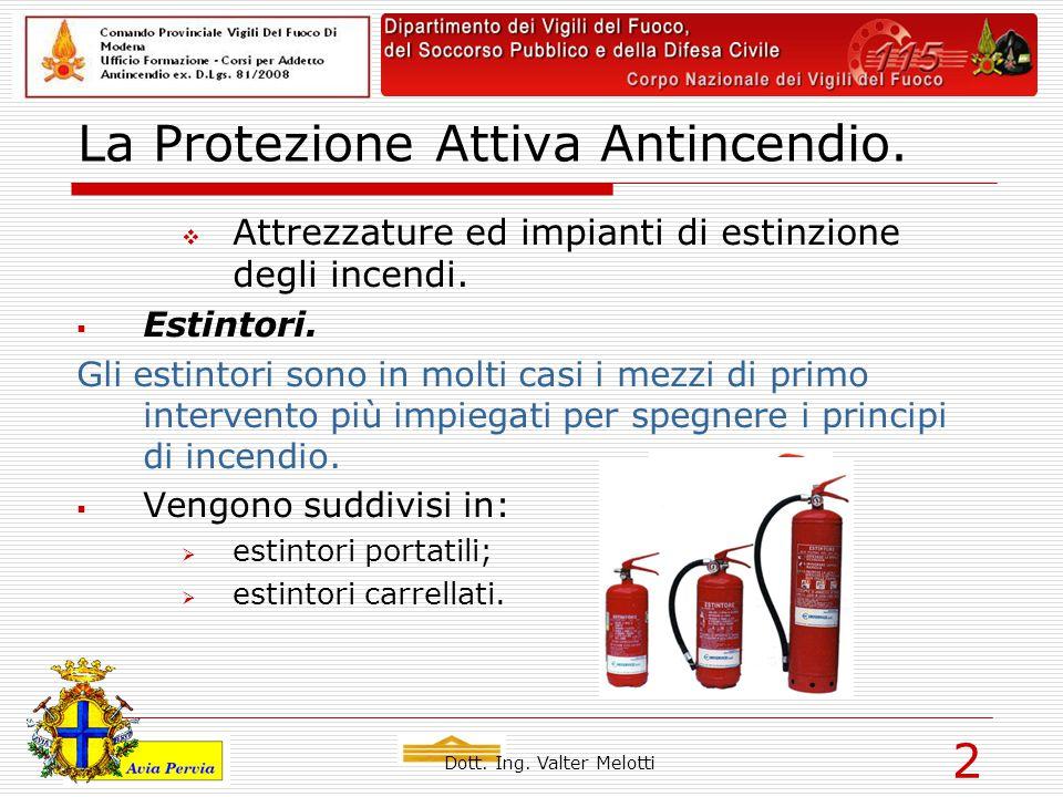 Dott. Ing. Valter Melotti 2 La Protezione Attiva Antincendio.  Attrezzature ed impianti di estinzione degli incendi.  Estintori. Gli estintori sono