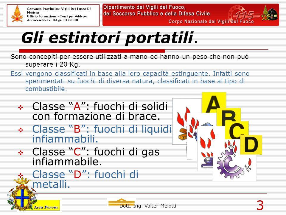 """Dott. Ing. Valter Melotti 3 Gli estintori portatili.  Classe """"A"""": fuochi di solidi con formazione di brace.  Classe """"B"""": fuochi di liquidi infiammab"""