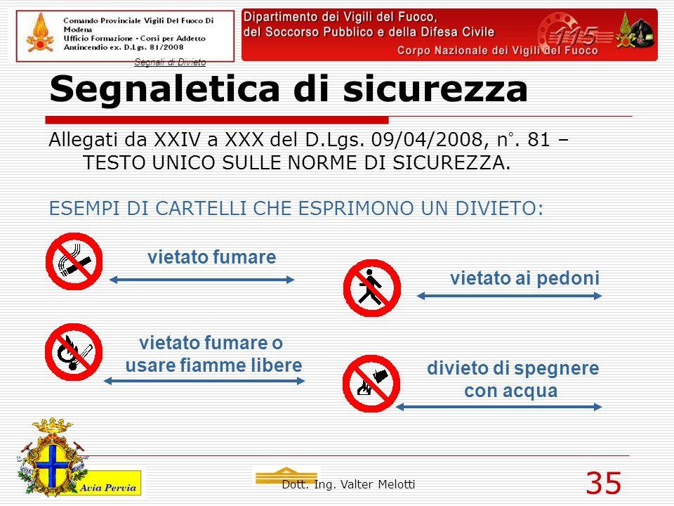 Dott. Ing. Valter Melotti 35 Segnaletica di sicurezza Allegati da XXIV a XXX del D.Lgs. 09/04/2008, n°. 81 – TESTO UNICO SULLE NORME DI SICUREZZA. ESE