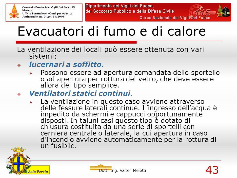 Dott. Ing. Valter Melotti 43 Evacuatori di fumo e di calore La ventilazione dei locali può essere ottenuta con vari sistemi:  lucernari a soffitto. 