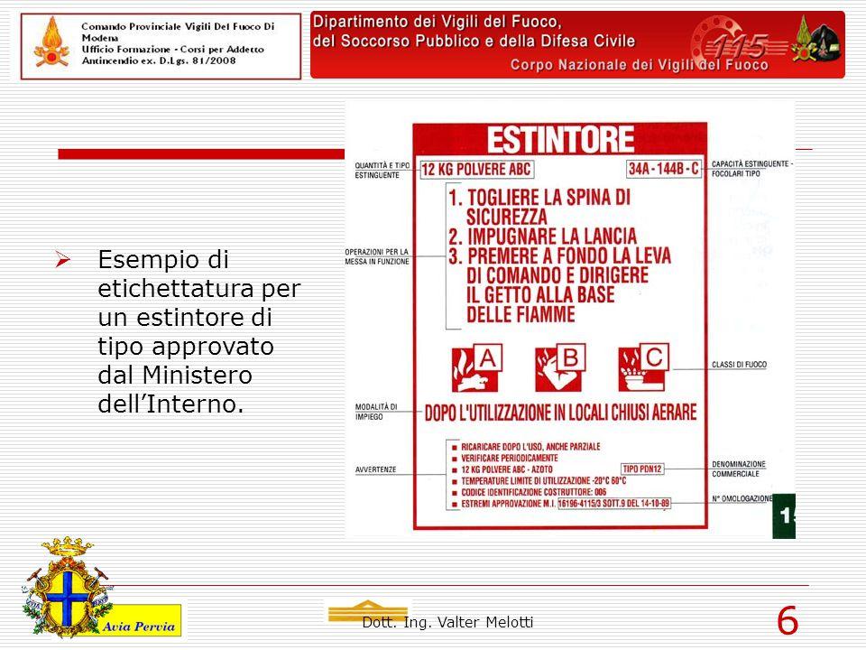 Dott. Ing. Valter Melotti 6  Esempio di etichettatura per un estintore di tipo approvato dal Ministero dell'Interno.