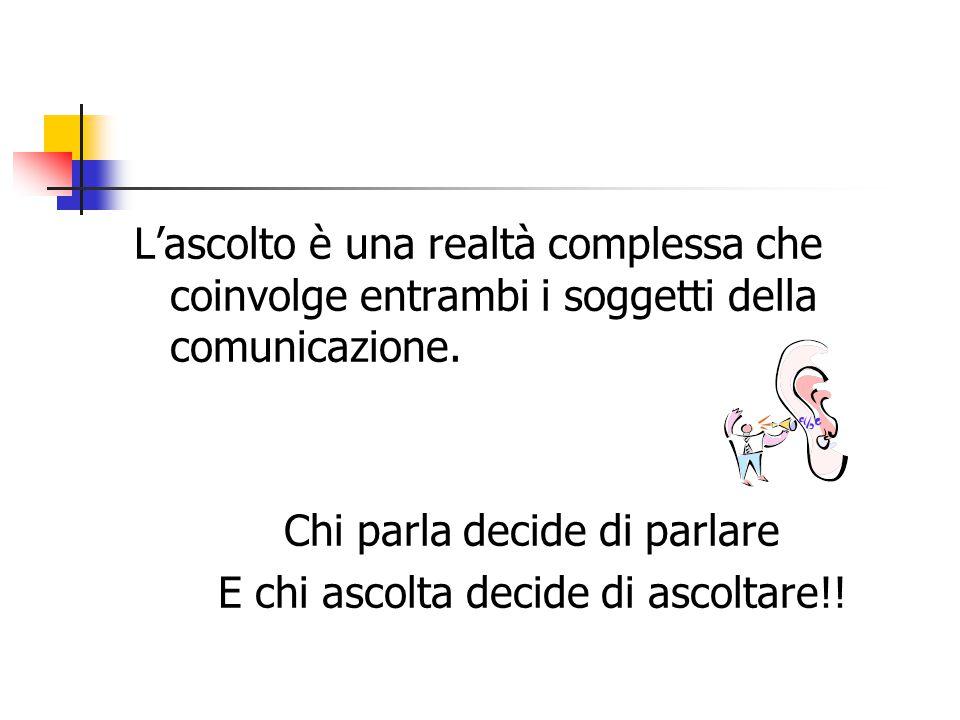 L'ascolto è una realtà complessa che coinvolge entrambi i soggetti della comunicazione.