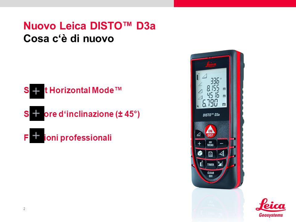 3 Leica DISTO™ D3a Robusto e resistente Mira di puntamento Ottica Leica in vetro Protezione in gomma antiscivolo Display grande e facile da leggere Smart Horizontal Mode™ Dist.