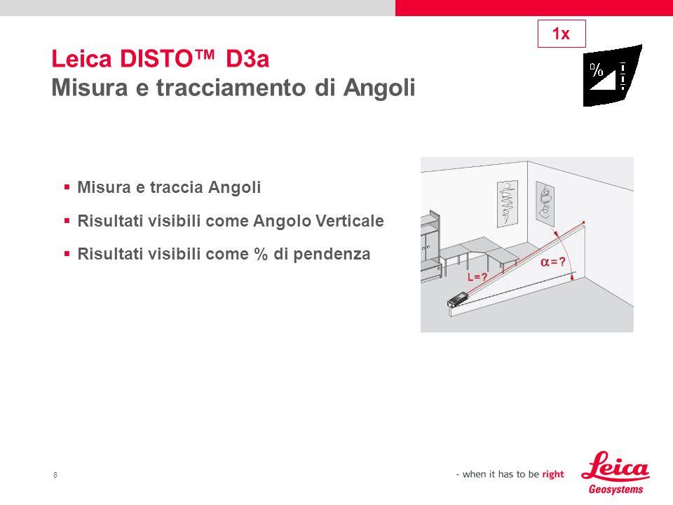 8 Leica DISTO™ D3a Misura e tracciamento di Angoli  Misura e traccia Angoli  Risultati visibili come Angolo Verticale  Risultati visibili come % di pendenza 1x