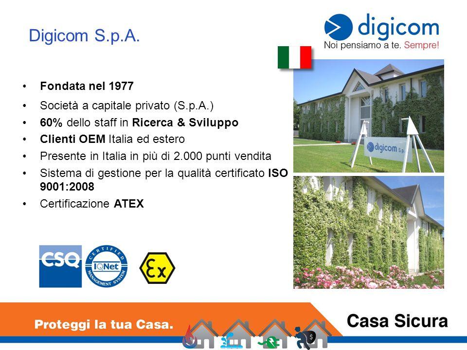 Digicom S.p.A. Fondata nel 1977 Società a capitale privato (S.p.A.) 60% dello staff in Ricerca & Sviluppo Clienti OEM Italia ed estero Presente in Ita