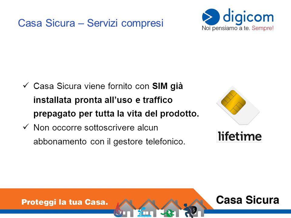 Casa Sicura viene fornito con SIM già installata pronta all'uso e traffico prepagato per tutta la vita del prodotto.