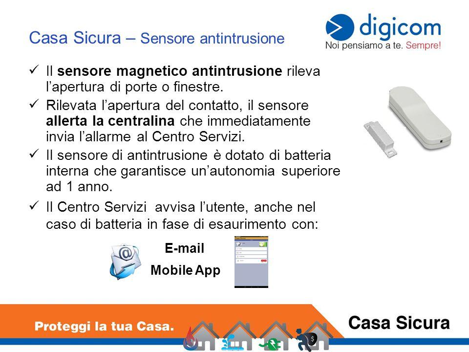 Il sensore magnetico antintrusione rileva l'apertura di porte o finestre.