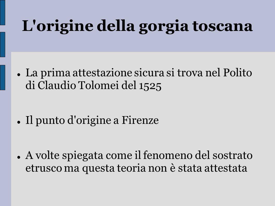 L'origine della gorgia toscana La prima attestazione sicura si trova nel Polito di Claudio Tolomei del 1525 Il punto d'origine a Firenze A volte spieg