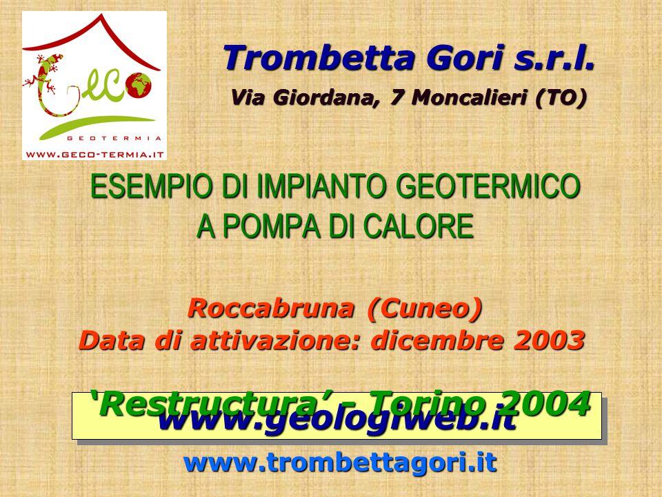 ESEMPIO DI IMPIANTO GEOTERMICO A POMPA DI CALORE Roccabruna (Cuneo) Data di attivazione: dicembre 2003 ESEMPIO DI IMPIANTO GEOTERMICO A POMPA DI CALORE Roccabruna (Cuneo) Data di attivazione: dicembre 2003 Trombetta Gori s.r.l.
