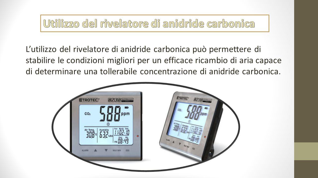L'utilizzo del rivelatore di anidride carbonica può permettere di stabilire le condizioni migliori per un efficace ricambio di aria capace di determin