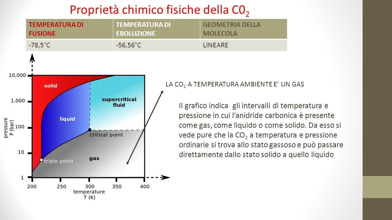 Proprietà chimico fisiche della C0 2 LA CO 2 A TEMPERATURA AMBIENTE E' UN GAS TEMPERATURA DI FUSIONE TEMPERATURA DI EBOLLIZIONE GEOMETRIA DELLA MOLECO