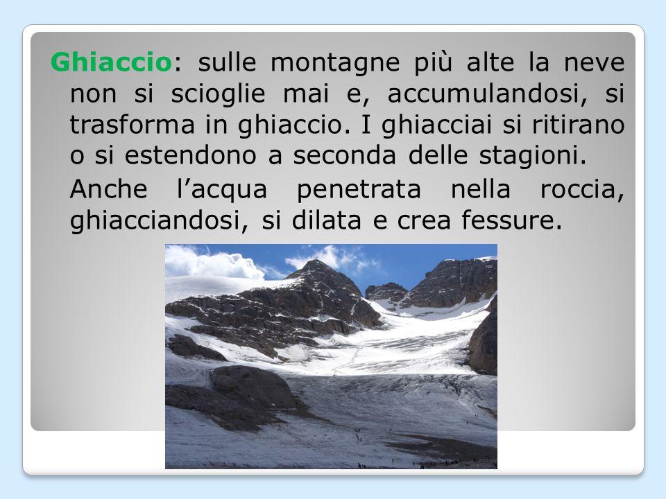 Ghiaccio: sulle montagne più alte la neve non si scioglie mai e, accumulandosi, si trasforma in ghiaccio.