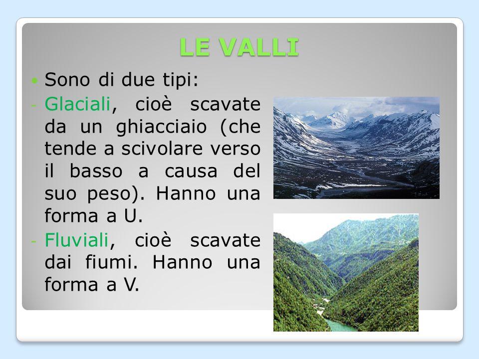 LE VALLI Sono di due tipi: - Glaciali, cioè scavate da un ghiacciaio (che tende a scivolare verso il basso a causa del suo peso).
