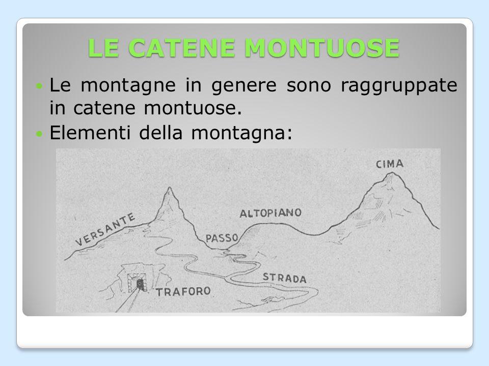 LE CATENE MONTUOSE Le montagne in genere sono raggruppate in catene montuose.