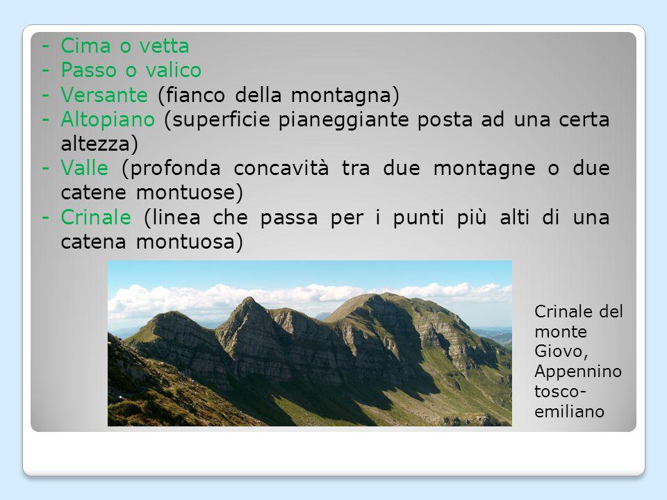L A FORMA DELLA MONTAGNA La forma di una montagna dipende tra tre elementi: - il tipo di roccia da cui è composta; - il processo che avviene nelle profondità della terra, che tende a fare innalzare le montagne (= orogenesi); - il processo che avviene in superficie, che disgrega la roccia (= erosione).