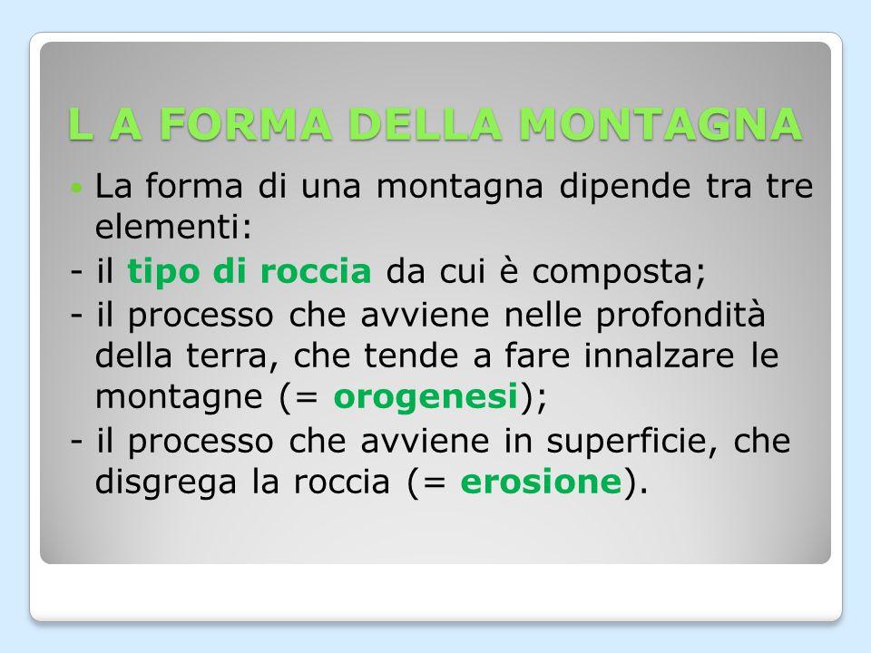 L'OROGENESI L'orogenesi è il processo di formazione delle montagne.