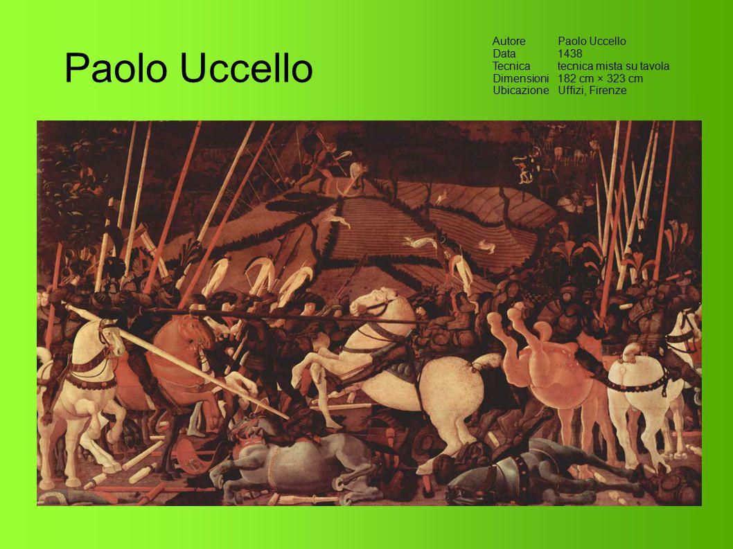 Paolo Uccello AutorePaolo Uccello Data1438 Tecnicatecnica mista su tavola Dimensioni182 cm × 323 cm UbicazioneUffizi, Firenze