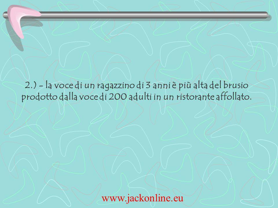 www.jackonline.eu 2.) - la voce di un ragazzino di 3 anni è più alta del brusio prodotto dalla voce di 200 adulti in un ristorante affollato.