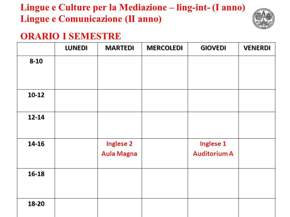 Lingue e Culture per la Mediazione – ling-int- (I anno) Lingue e Comunicazione (II anno) ORARIO I SEMESTRELUNEDIMARTEDIMERCOLEDIGIOVEDIVENERDI8-10 10-