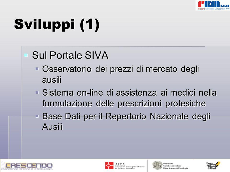 Sviluppi (1)  Sul Portale SIVA  Osservatorio dei prezzi di mercato degli ausili  Sistema on-line di assistenza ai medici nella formulazione delle prescrizioni protesiche  Base Dati per il Repertorio Nazionale degli Ausili