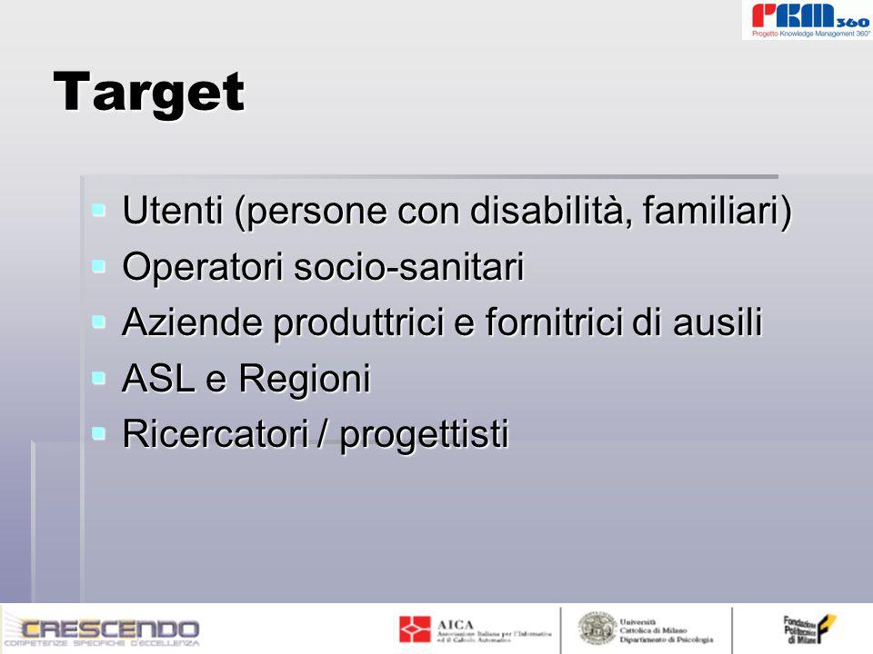 Target  Utenti (persone con disabilità, familiari)  Operatori socio-sanitari  Aziende produttrici e fornitrici di ausili  ASL e Regioni  Ricercatori / progettisti