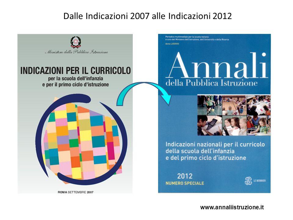 Dalle Indicazioni 2007 alle Indicazioni 2012 www.annaliistruzione.it